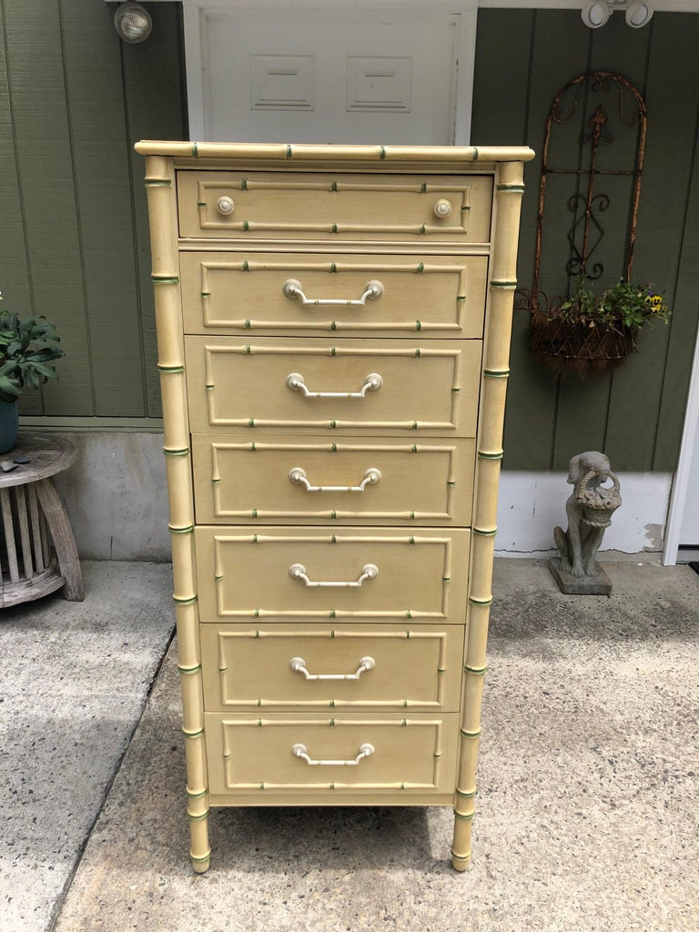 Hollywood Regency Thomasville Allegro Faux Bamboo Lingerie Chest For Sale