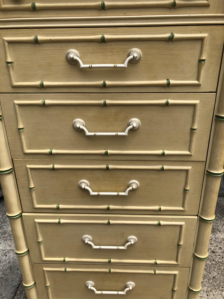 Late 20th Century Thomasville Allegro Faux Bamboo Lingerie Chest For Sale