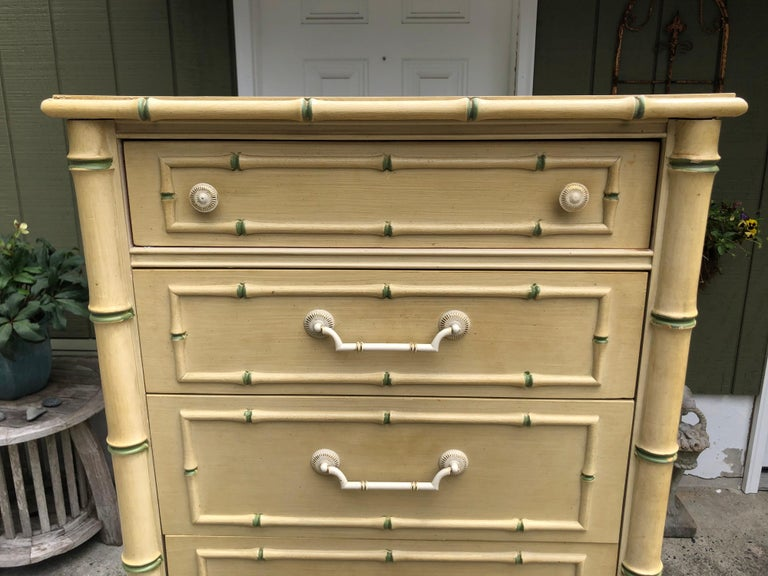 Metal Thomasville Allegro Faux Bamboo Lingerie Chest For Sale