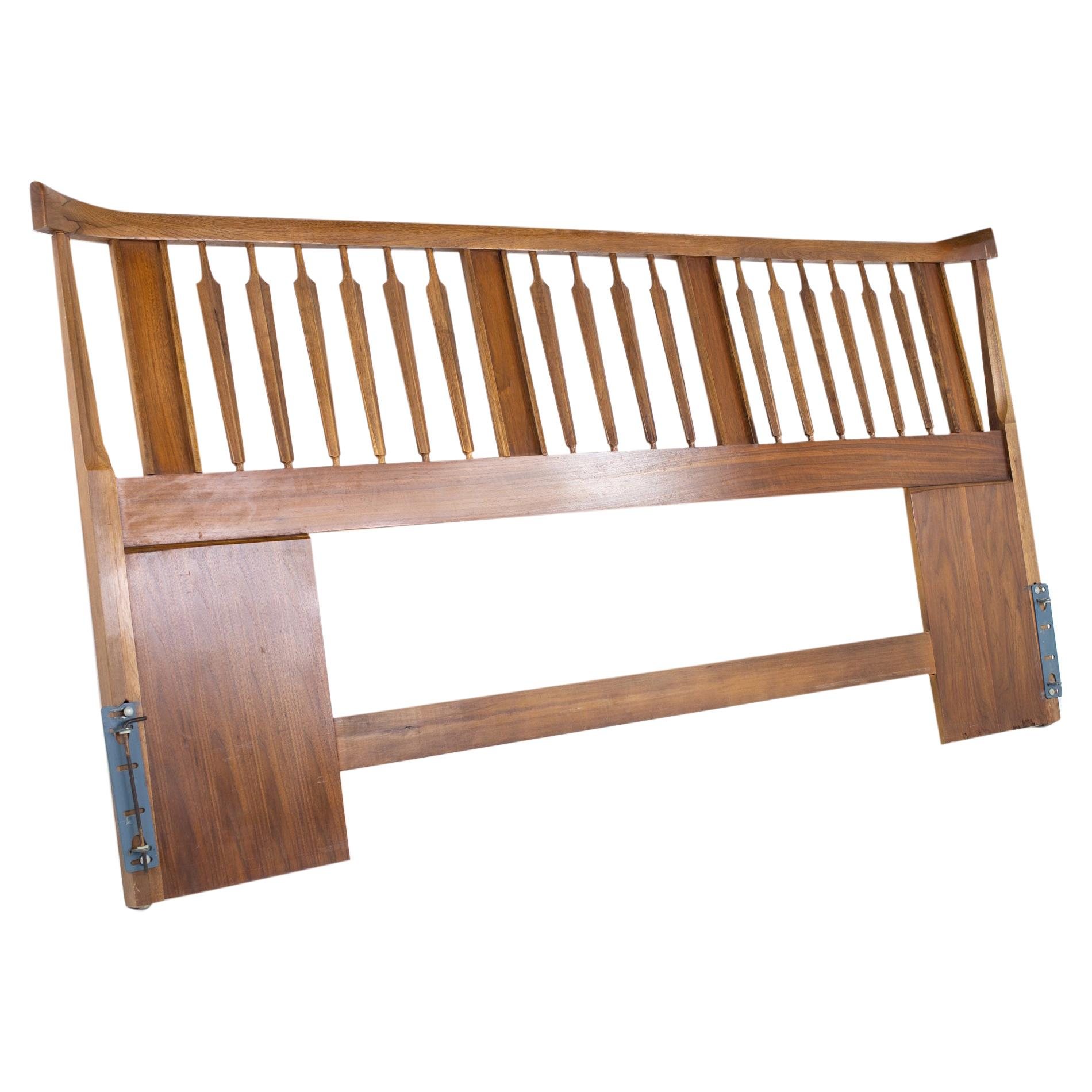 Thomasville Brutalist Mid Century Walnut King Headboard