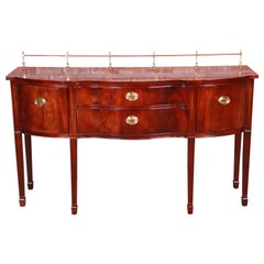 Thomasville Hepplewhite Flame Mahogany Sideboard Credenza with Brass Gallery