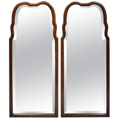 Thomasville Hollywood Regency French Arched Beveled Glass Console Mirrors, Pair