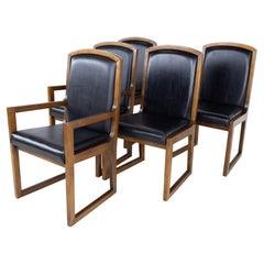 Thomasville Mid Century Walnut and Black Naugahyde Sleigh Leg Dining Chairs, Se