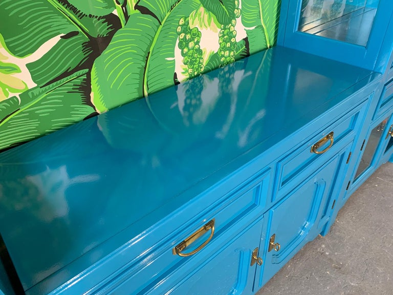 Hollywood Regency Thomasville Sideboard Cabinet in Blue Lacquer For Sale