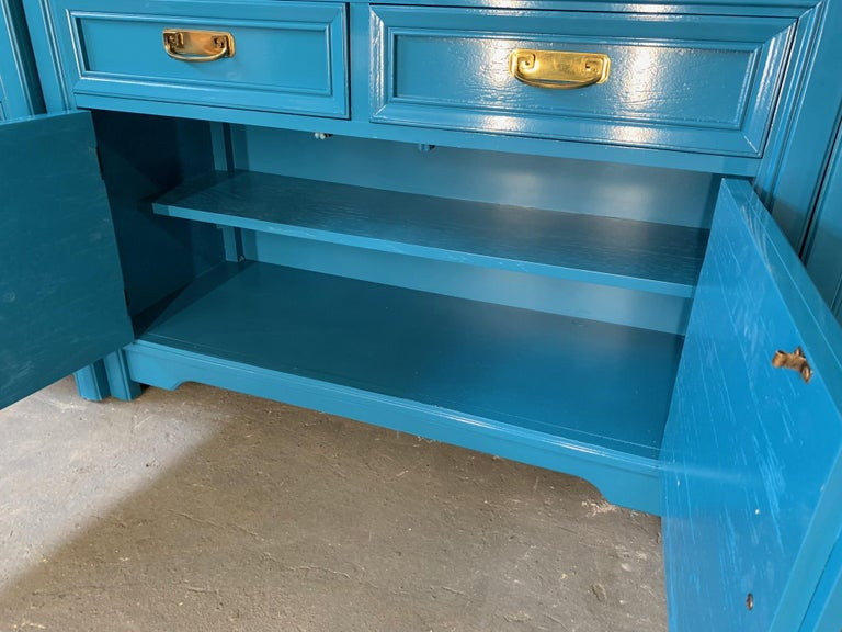 American Thomasville Sideboard Cabinet in Blue Lacquer For Sale