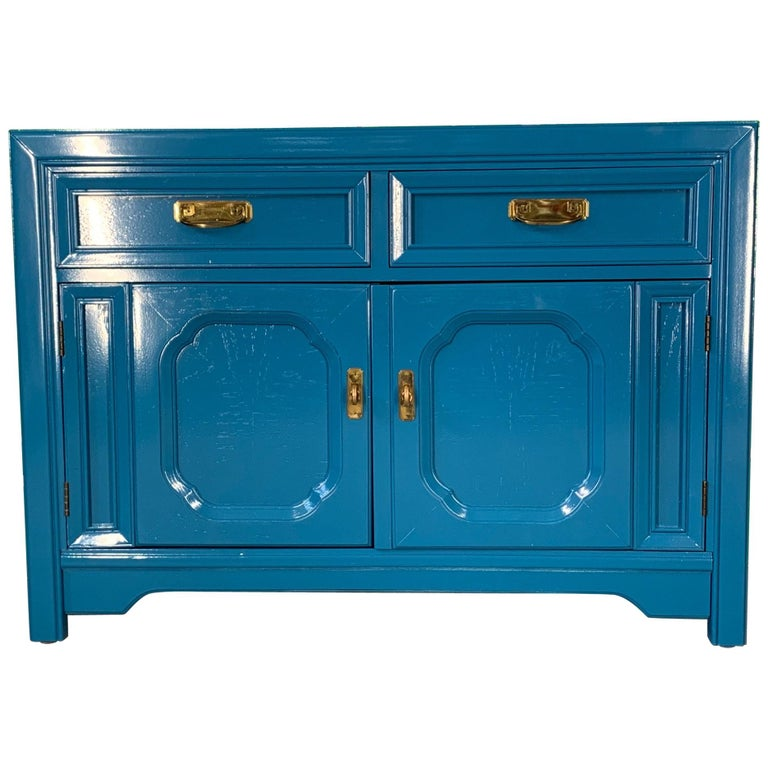 Thomasville Sideboard Cabinet in Blue Lacquer For Sale