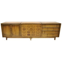 Thomasville Tamerlane Long Mid-Century Modern Bar Credenza Cabinet Sideboard