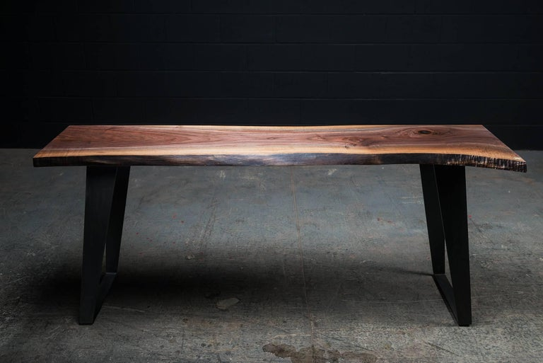 Canadian Thompson Console Table by Ambrozia, Live Edge Walnut, Blackened Steel (72L) For Sale