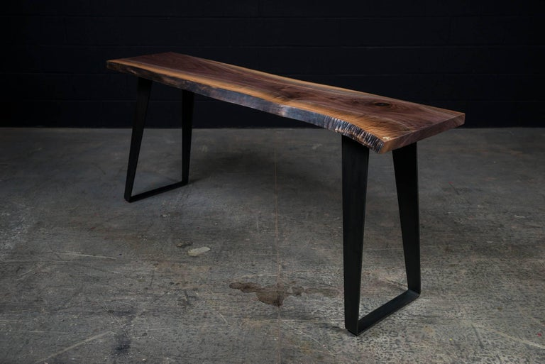 Contemporary Thompson Console Table by Ambrozia, Live Edge Walnut, Blackened Steel (72L) For Sale