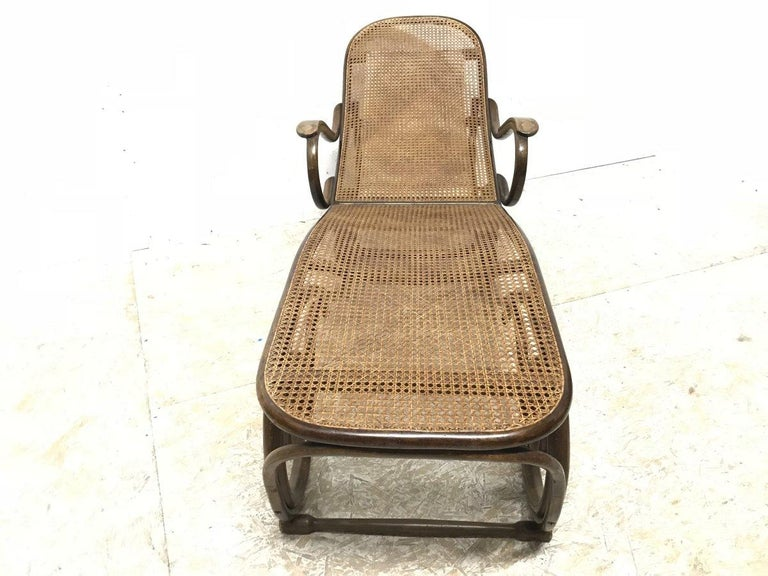 Thonet, a Bentwood Chaise Lounge with Wonderful Scroll Work Details & Cane Work 11