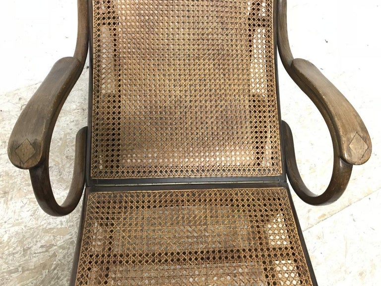 Thonet, a Bentwood Chaise Lounge with Wonderful Scroll Work Details & Cane Work For Sale 7