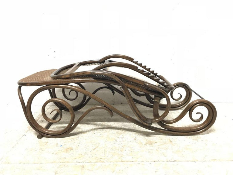 Thonet, a Bentwood Chaise Lounge with Wonderful Scroll Work Details & Cane Work 16