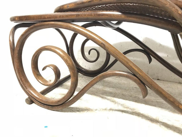 Thonet, a Bentwood Chaise Lounge with Wonderful Scroll Work Details & Cane Work 18