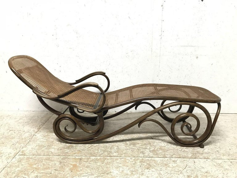 Thonet, a Bentwood Chaise Lounge with Wonderful Scroll Work Details & Cane Work 2