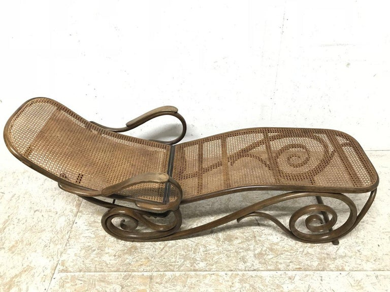 Thonet, a Bentwood Chaise Lounge with Wonderful Scroll Work Details & Cane Work 3