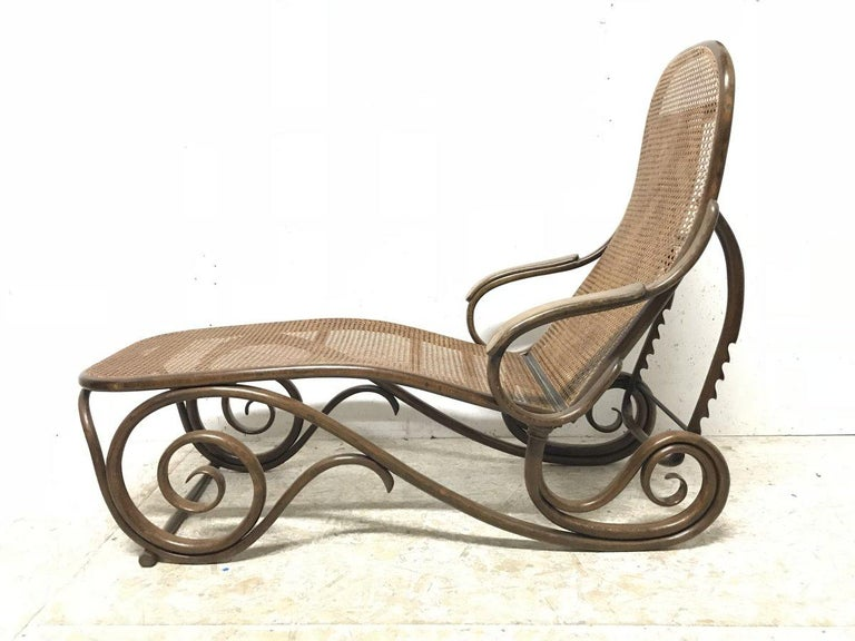 Thonet, a Bentwood Chaise Lounge with Wonderful Scroll Work Details & Cane Work 4
