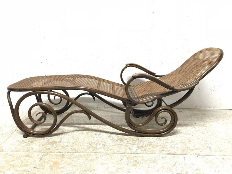 Thonet, a Bentwood Chaise Lounge with Wonderful Scroll Work Details & Cane Work 5