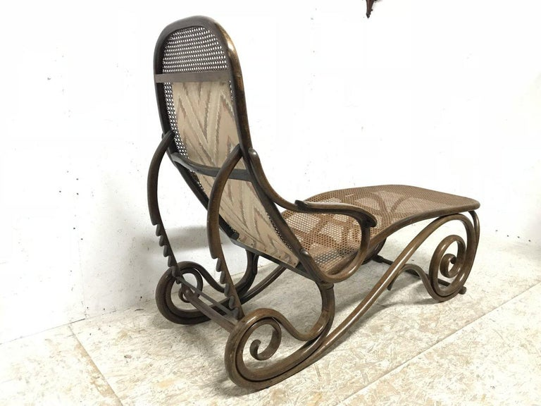 Thonet, a Bentwood Chaise Lounge with Wonderful Scroll Work Details & Cane Work 7