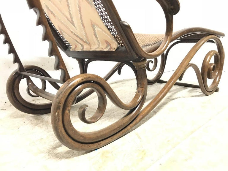 Thonet, a Bentwood Chaise Lounge with Wonderful Scroll Work Details & Cane Work 9