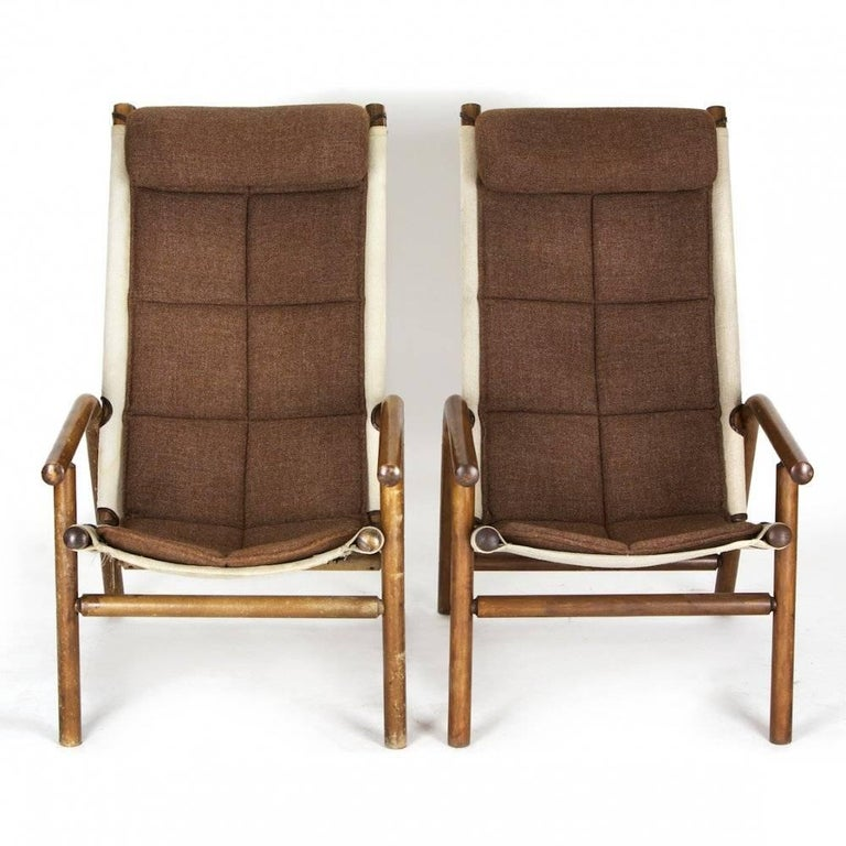 Thonet Armchairs in Bentwood, Linen and Fabric Combination, Czechoslovakia 1930s In Good Condition For Sale In Zohor, SK
