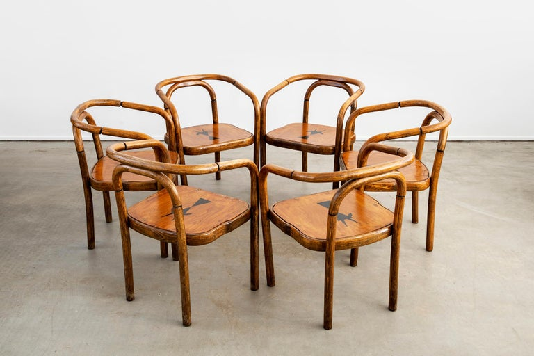 Austrian Thonet Armchairs with Ram Inlay Seat For Sale