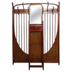 Thonet Art Nouveau Wall Mounted Coat Rack Model 6 Mahogany Stained, Vienna