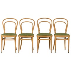 Thonet Beech Bentwood Chairs, Made in Mid-20th Century, Set of 4