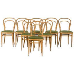 Thonet Beech Bentwood Chairs, Made in Mid-20th Century, Set of 8