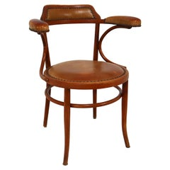 Thonet Bentwood Armchair with Patinated Leather Seat and Armrest, Vienna Austria