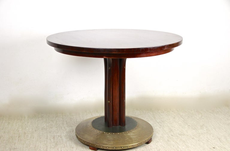 Thonet Bentwood Coffee Table with Hammered Brass Base, Austria, circa 1915 For Sale 6