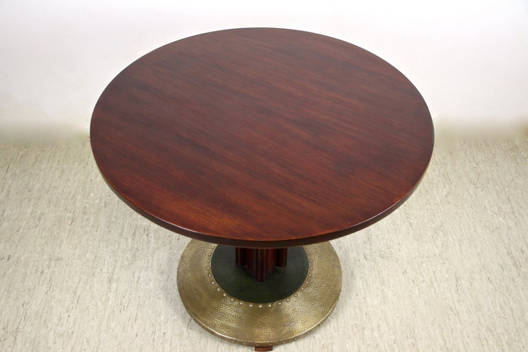 Art Nouveau Thonet Bentwood Coffee Table with Hammered Brass Base, Austria, circa 1915 For Sale