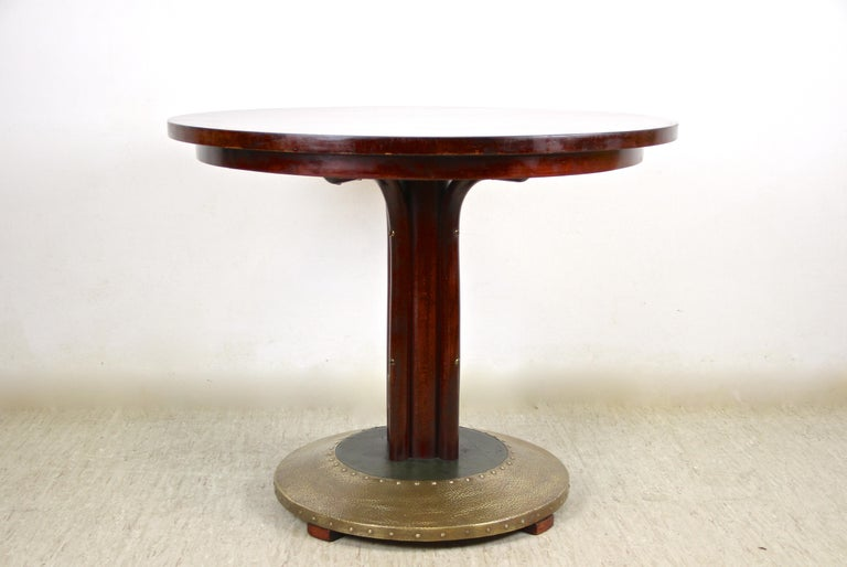 Austrian Thonet Bentwood Coffee Table with Hammered Brass Base, Austria, circa 1915 For Sale