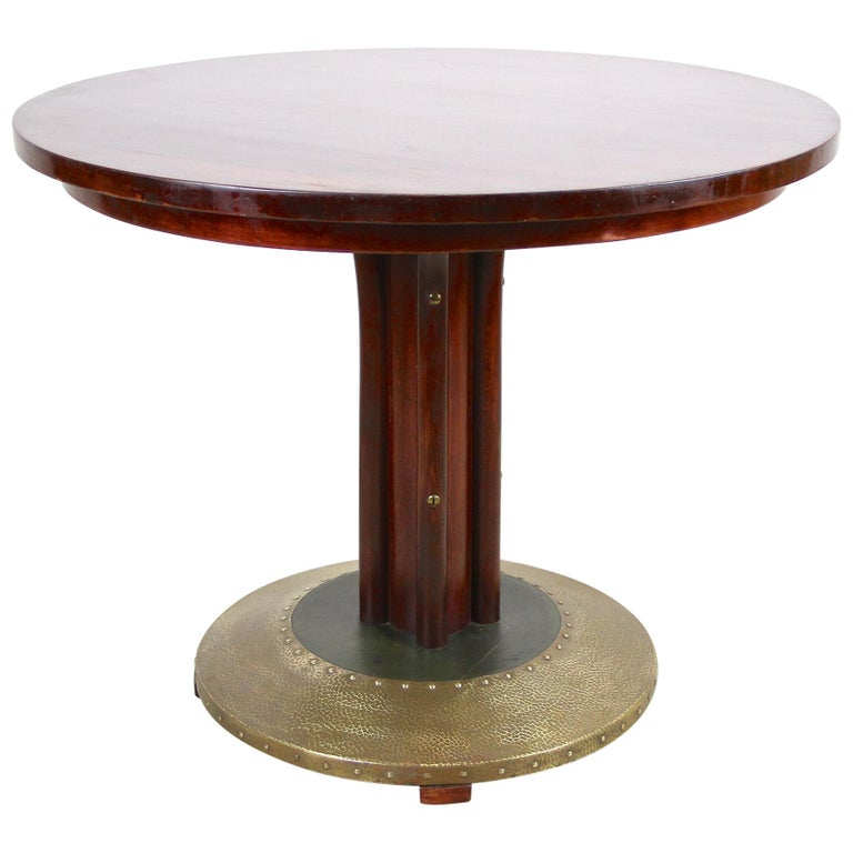 Thonet Bentwood Coffee Table with Hammered Brass Base, Austria, circa 1915 For Sale