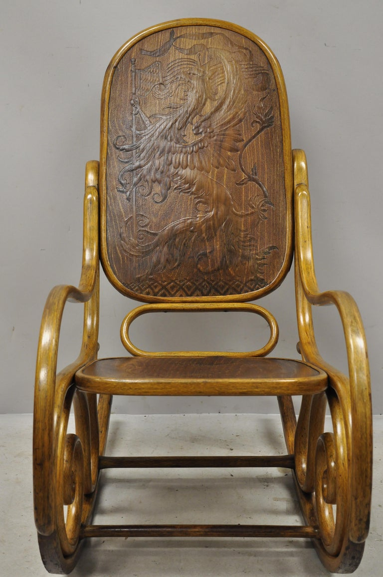 Thonet Bentwood Rocking Chair Figural Pressed Wood Griffins and Northwind Face For Sale 6
