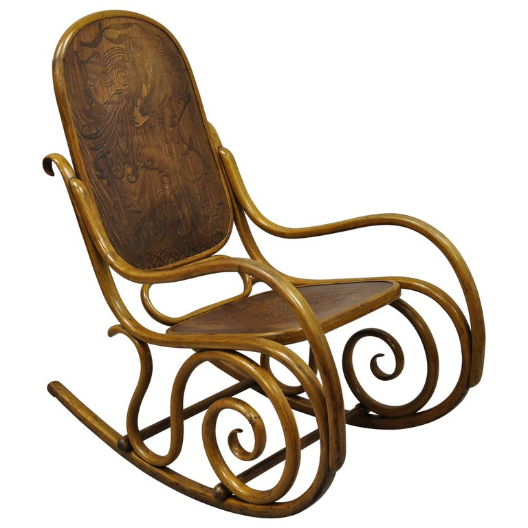 Thonet Bentwood Rocking Chair Figural Pressed Wood Griffins and Northwind Face For Sale