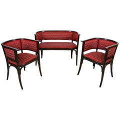 Thonet Bentwood Seating Set with Two Armchairs and Bench, Austria, circa 1910