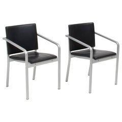 Thonet by Norman Foster A901 PF Aluminium and Black Leather Dining Chairs, Pair