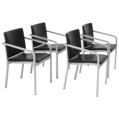 Thonet by Norman Foster A901 PF Aluminium and Leather Dining Chairs, Set of 4