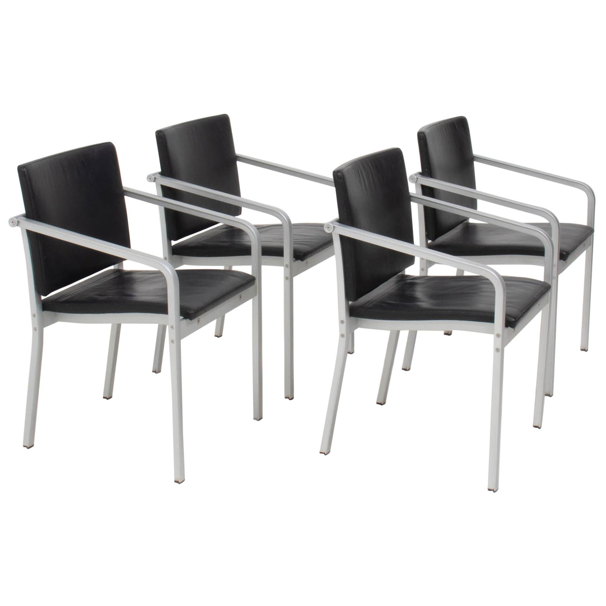 Thonet by Norman Foster A901 PF Black Leather Dining Chairs, Set of 4