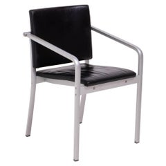 Thonet by Norman Foster A901 PF Silver and Black Leather Dining Chairs