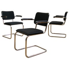Thonet Cantilever Armchairs, Model S64 by Marcel Breuer, Black Fabric, Set of 4