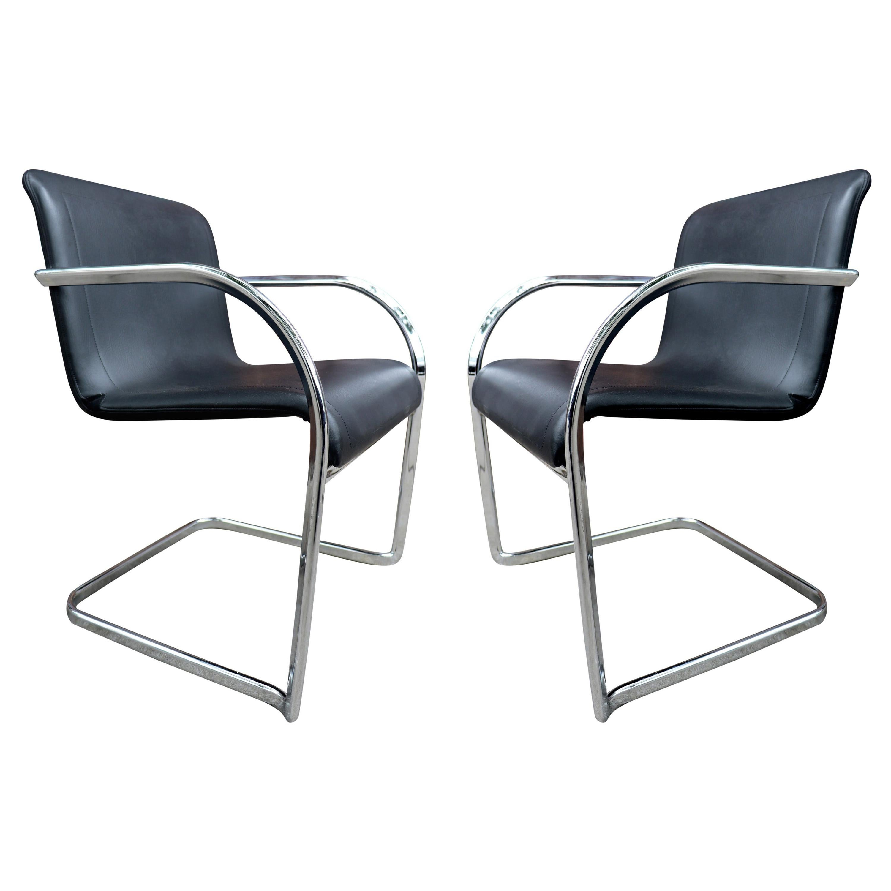 Thonet Cantilever Lounge Chairs in Chrome by Anton Lorenz