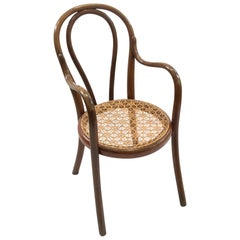 Thonet Children's Bentwood Chair with Hand Caned Seat Paper Label & Branded Name