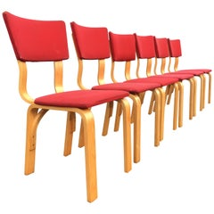 Thonet Dining Chairs, Bentwood and Fabric, Mid-Century Modern