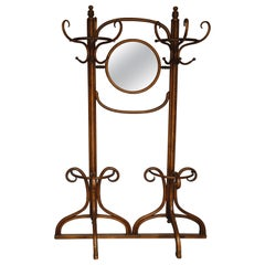 Thonet Double Coat Rack/Hall Tree with Mirror