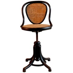 Thonet Ebonized Bentwood Swivel Office Chair Austria, circa 1900
