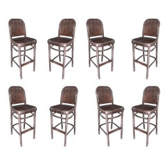 Thonet Inspired Bentwood Bar Stool, Set of Eight