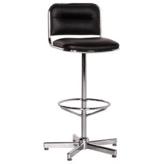 Thonet Leather Bar Stool Black Chair Metal