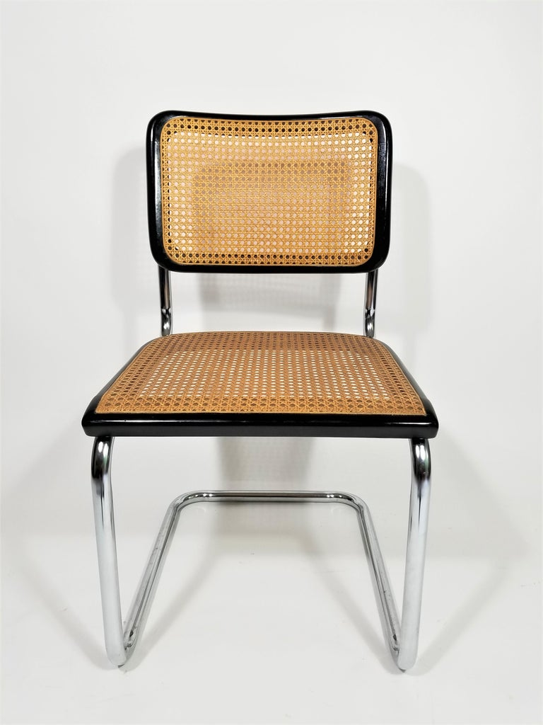 American Thonet Marcel Breuer Cesca Black Side Chair Midcentury, New York For Sale