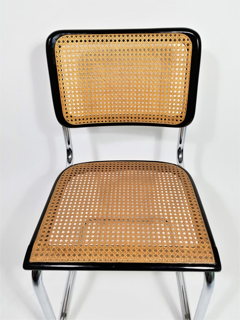 Thonet Marcel Breuer Cesca Black Side Chair Midcentury, New York In Good Condition For Sale In New York, NY